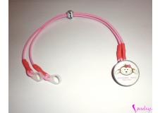 obrázek Záchytný klip na sluchadla nebo procesor/y - Růžová opička s nápisem 2