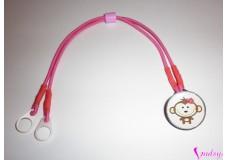 obrázek Záchytný klip na sluchadla nebo procesor/y - Růžová opička